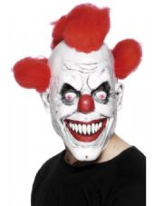 Clown Full Over Head Mask With Red Hair